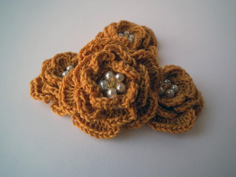 """Hochzeit - 4pcs 2"""" Handmade Crochet Flower Applique"""