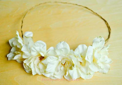 Hochzeit - BRENDA LEE Cream white Delphinium Flower head wreath floral hair accessory/wedding bridal bridesmaids bride women adult girl party