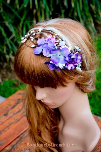 Mariage - BRENDA LEE Purple mini flowers and blue pip berries suede head tie/crown woodland halo/whimsical floral circlet/wedding/boho/wrap/girl