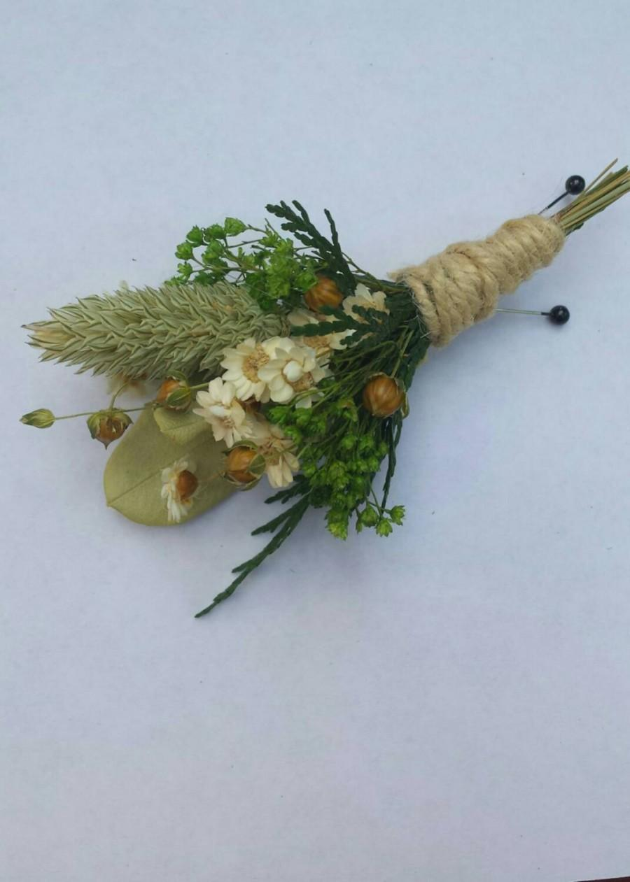 Rustic Dried Flower Boutonniere Green And White Flowers For Wedding