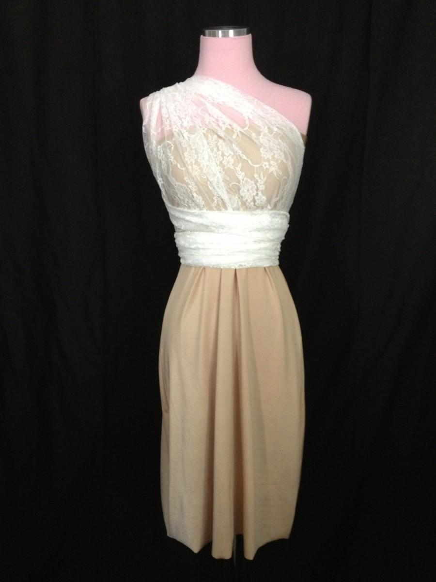 Champagne and ivory lace bridesmaids convertible dress for Ivory color wedding dress