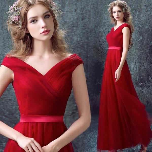 80681b17c94f1 Elegant Red Dress/ Red wedding Dress/Red Prom dress/Bridal Wedding Party  Dress,Bridal Prom/ Bridesmaid Dress handmade dress V-neck dress