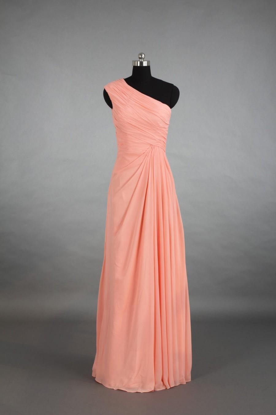 Wedding - One Shoulder Bridesmaid Dress, Floor-Length Peach Pink Chiffon Bridesmaid Dress