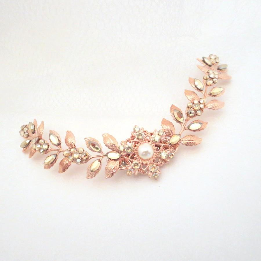 Rose gold wedding hair accessories - Rose Gold Wedding Headpiece Leaf Bridal Headpiece Bridal Hair Comb Hair Clip Rose Gold Hair Comb Swarovski Crystal Vintage Style