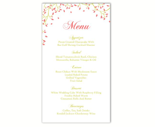 Hochzeit - Wedding Menu Template DIY Menu Card Template Editable Text Word File Instant Download Red Green Menu Leaf Menu Card Printable Menu 4x7inch