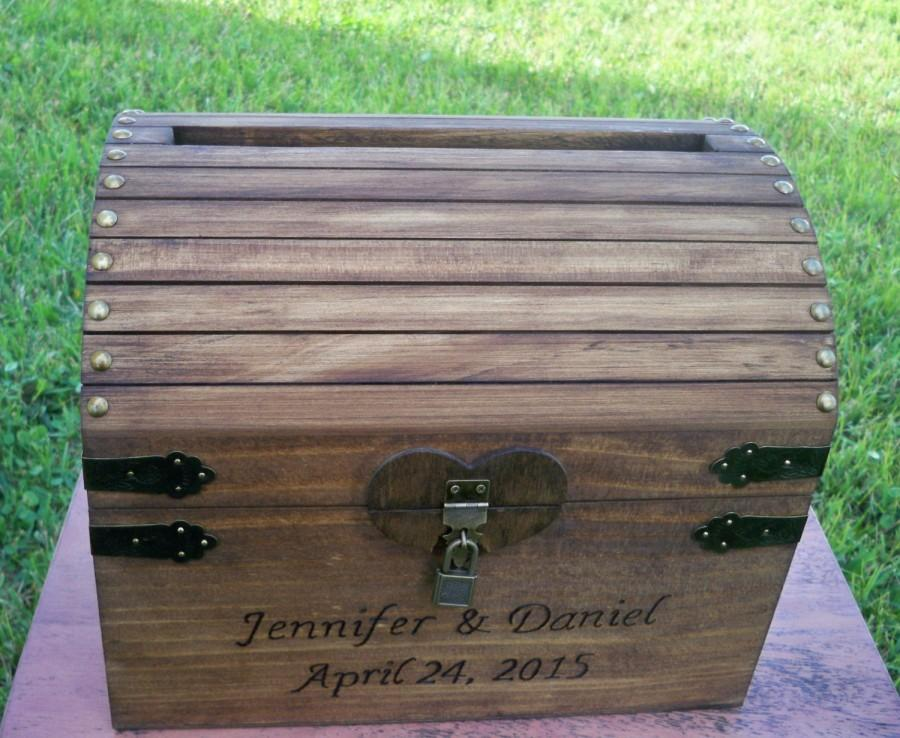 WEDDING CARD CHEST Large Chest Rustic Card Box Stained Wood – Large Wedding Card Box