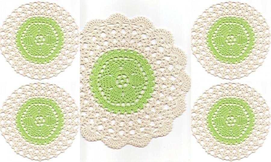Crochet Doilies Set Of 5, Lace Doily, Table Decoration, Crocheted ...