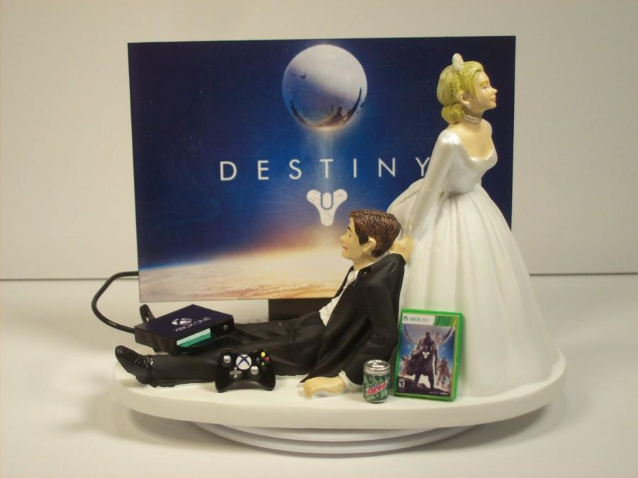 Свадьба - Video Game Junkie X Funny Gamer Wedding Cake Topper Bride and Groom Gamer Dest