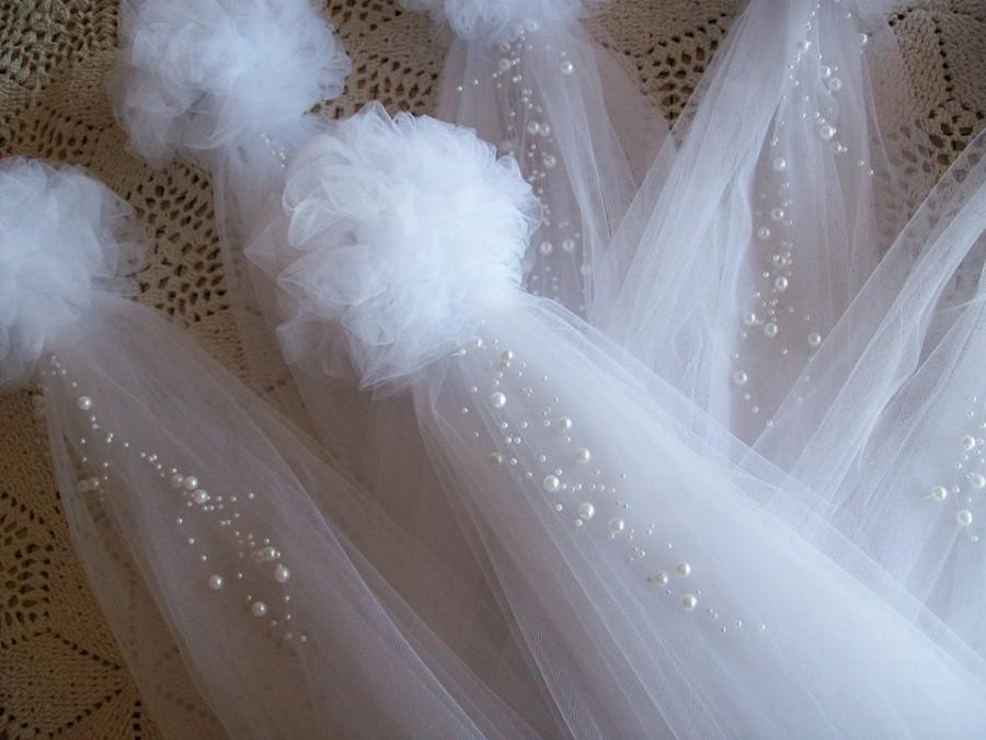Pom Pew Bows, Tulle And Pearl Bows, Church Pew, Pew Bows ...