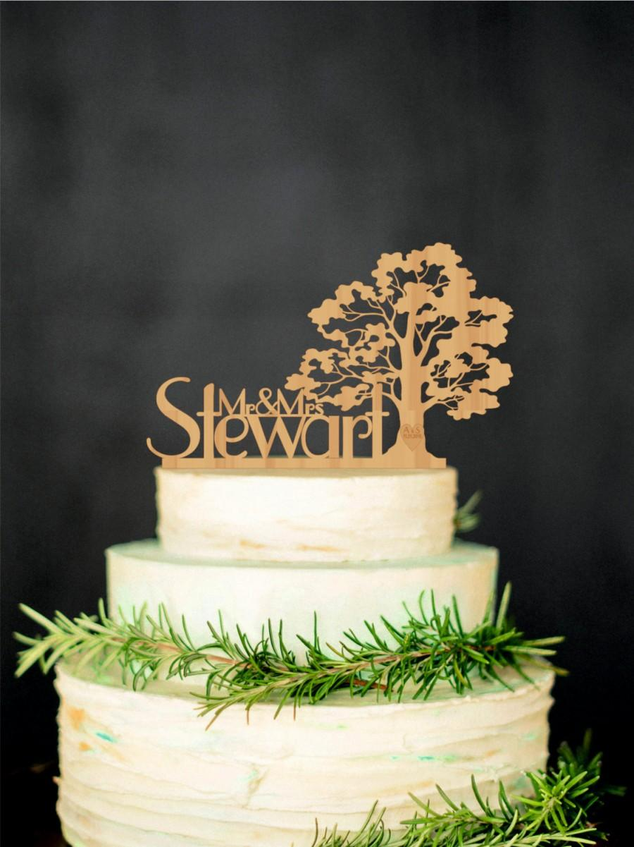 Hochzeit - Tree Wedding Cake Topper Personalized Wood Cake Topper Rustic Cake Topper Wooden Mr Mrs Last name topper