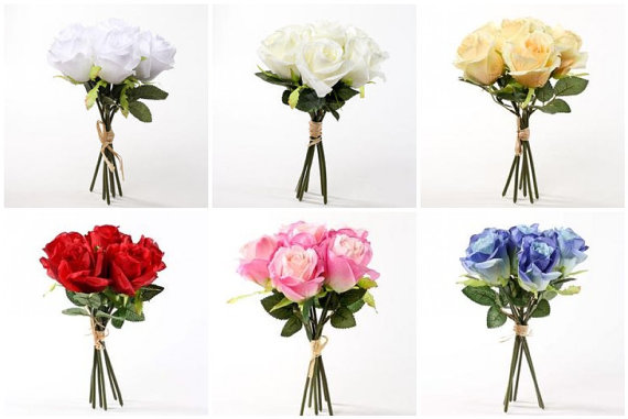 Wedding - 10 Pc. Custom Rose Bouquet Set, Bride's Bouquet, Maid of Honor Bouquet, 3 Bridesmaids Bouquets, 5 Boutonnieres 6 colors to choose from