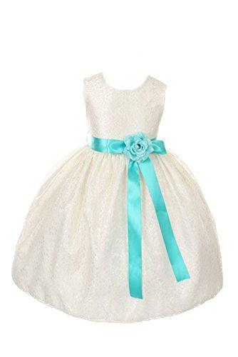 f570a0493 Ivory Lace Flower Girl Dress & Tiffany Blue Sash #2462412 - Weddbook