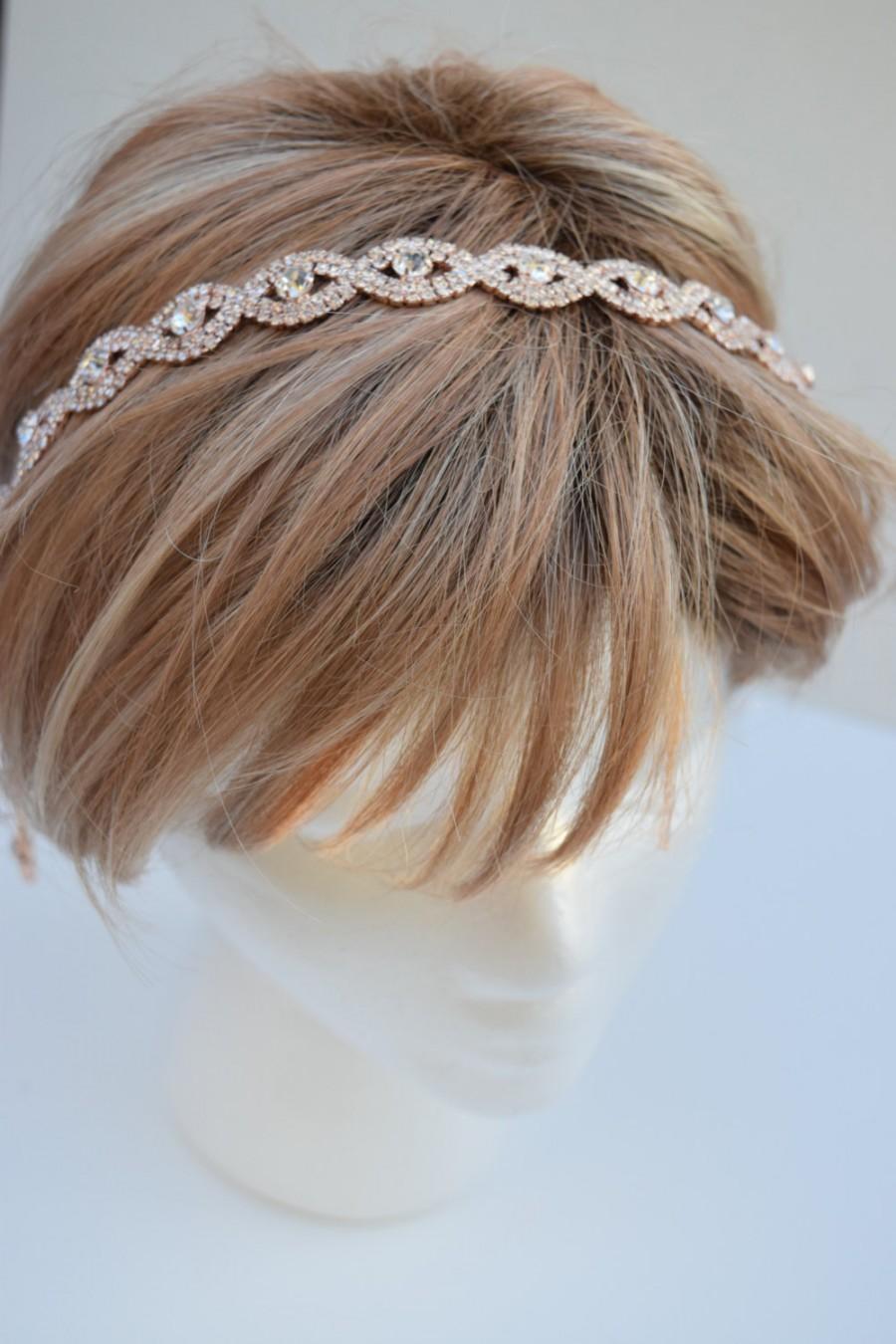 Wedding - Thin Rose Gold Crystal Rhinestone Headband - rose gold hair band- bridal hair piece-Crystal headband-hairband with ribbon-Gatsby- EYM B036