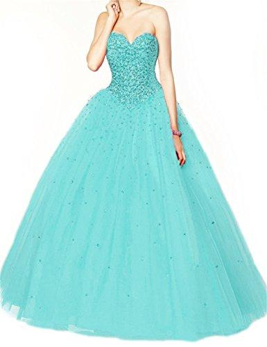 Tiffany Blue Ball Gown Beaded Wedding Dress
