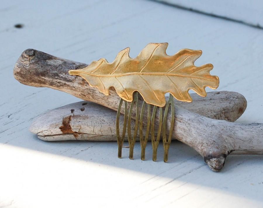 Boda - Golden LEAF Hair Comb Woodland Whimsical Nature Bridal Gold Oak LEAF Fairy Wedding Autumn