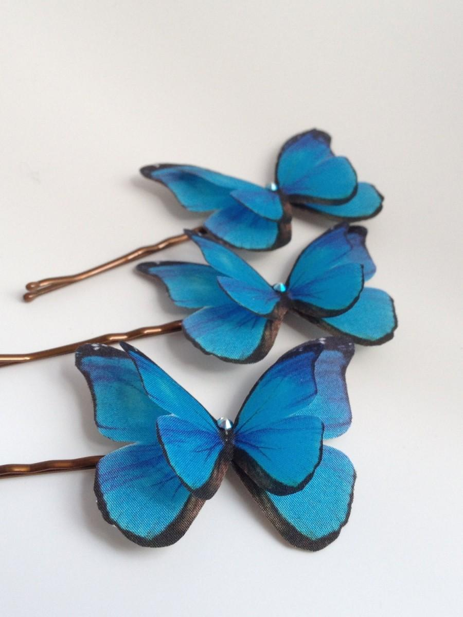 Wedding - Hand Cut silk butterfly hair pins - Trio of Bright Blue Morpho