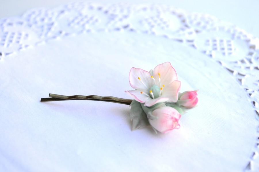 3afa907d45b63f Apple blossom cherry blossom sakura hair clip bobby pin. Wedding hair  blossom. Spring flower hair clip bobby pin. Polymer clay flowers