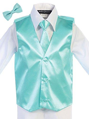 Mariage - Tiffany Blue Boys Satin Hand Made Long Tie & Vest Set (Free Bow Tie)