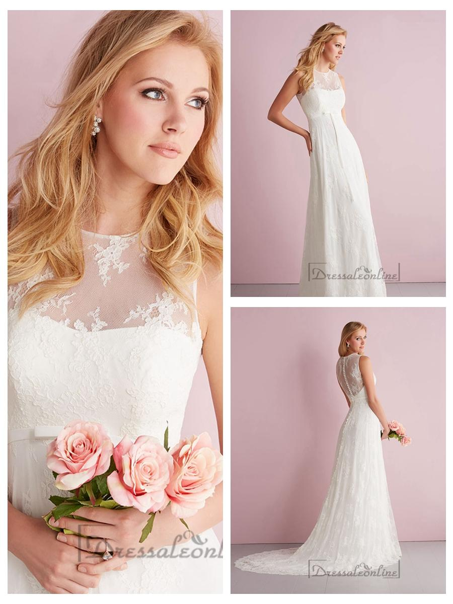 Simple Slim A Line Sheer Illusion Neckline Wedding Dresses 2462440
