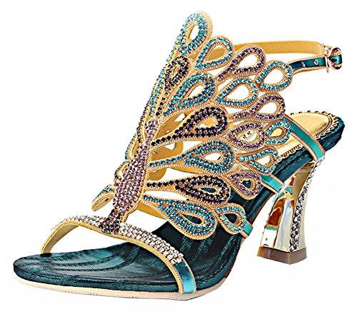 Wedding - Rhinestone Peacock Handmade Wedding Sandals
