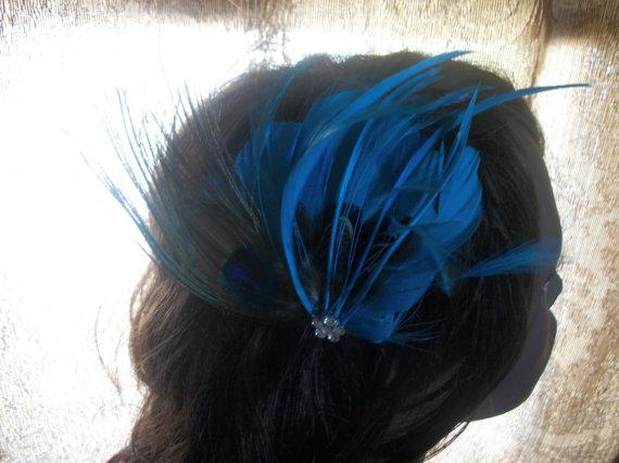 زفاف - Beautiful Peacock and Turquoise Blue Feather Hair Clip