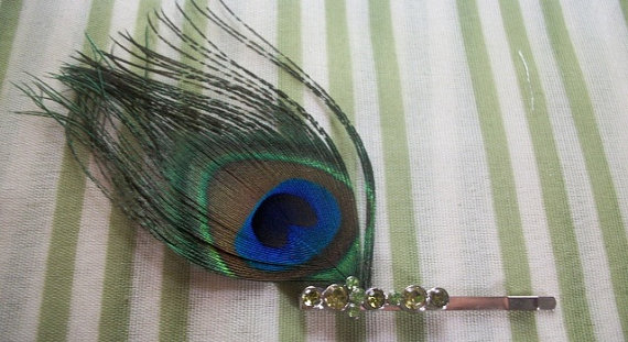 Mariage - Peacock Feather Hair Pin With Lime Green Rhinestones