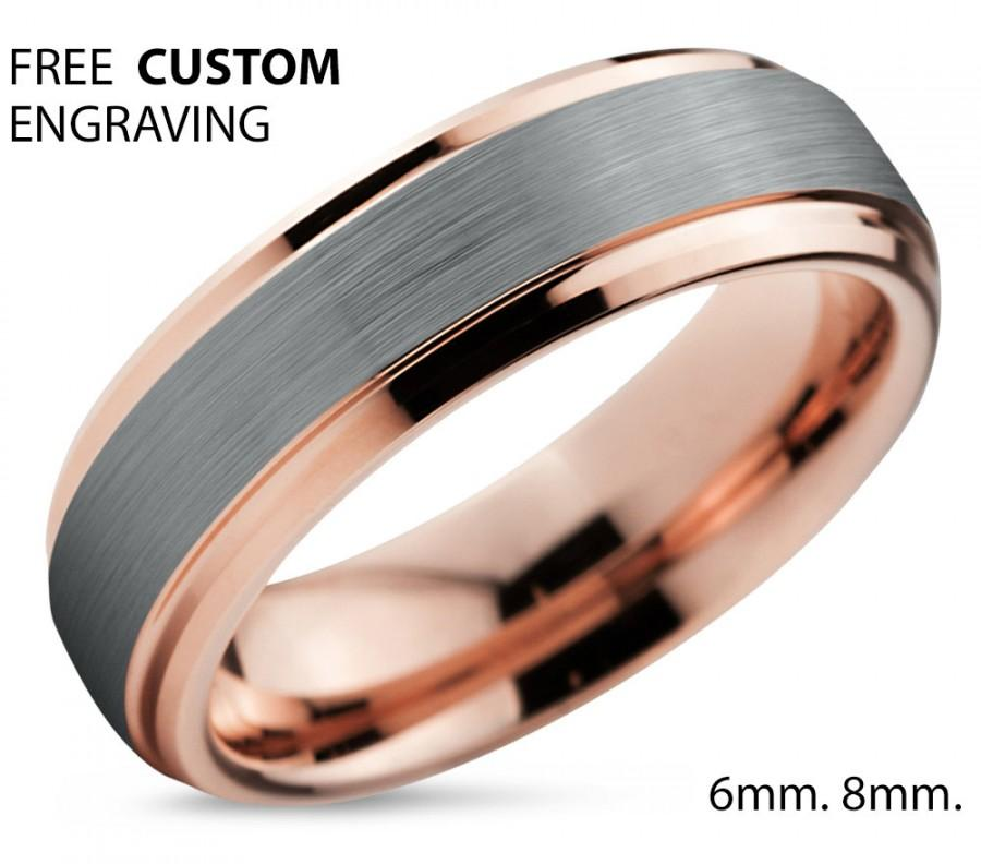 tungsten ring rose gold wedding band ring tungsten carbide 6mm 18k tungsten ring man wedding band male women anniversary matching - Man Wedding Ring