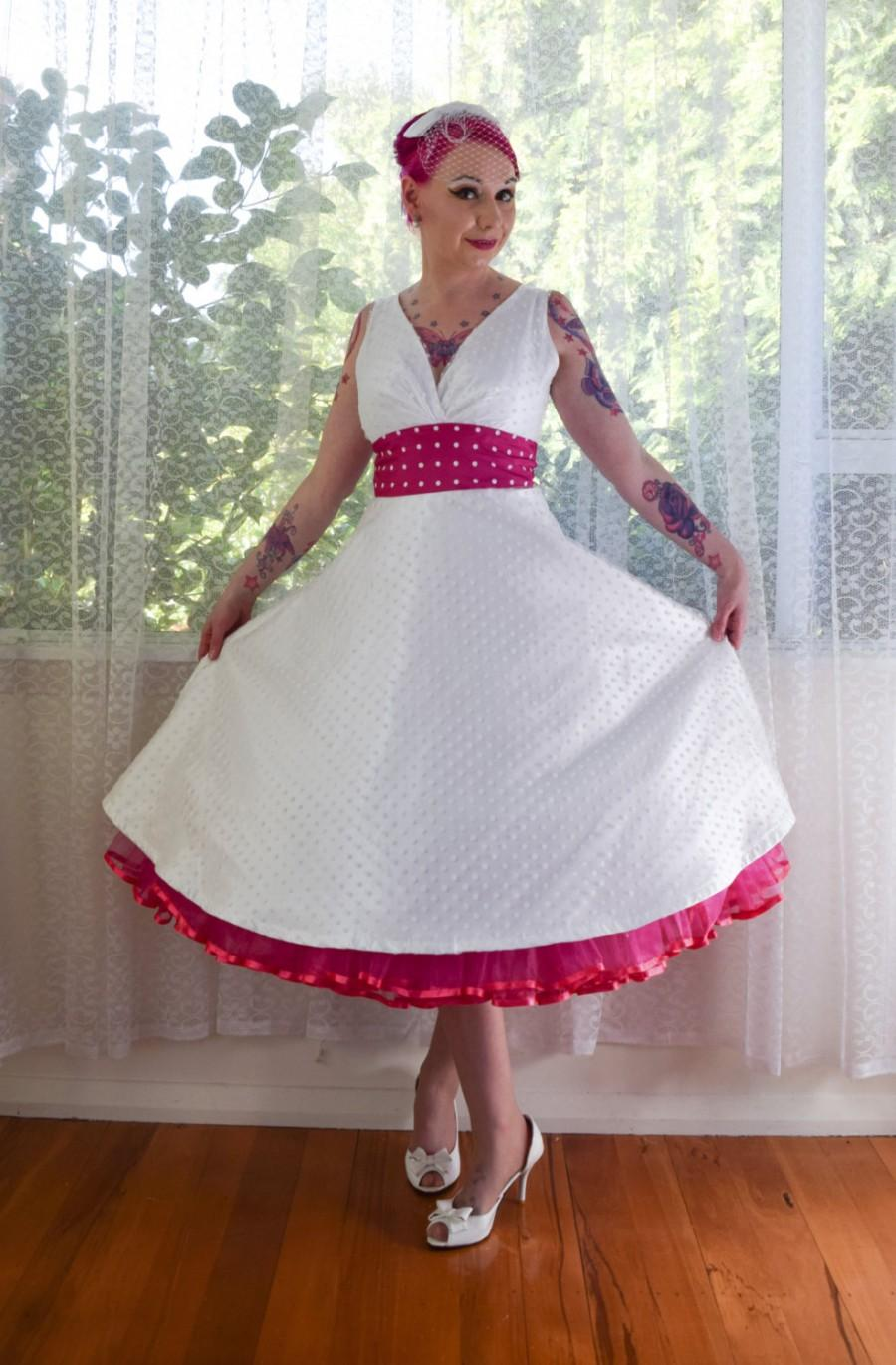 "Wedding - 1950's Rockabilly ""Fenella"" Wedding Dress with Polka Dot Waistband and Matching Petticoat - Custom Made to Fit - Any Colour"