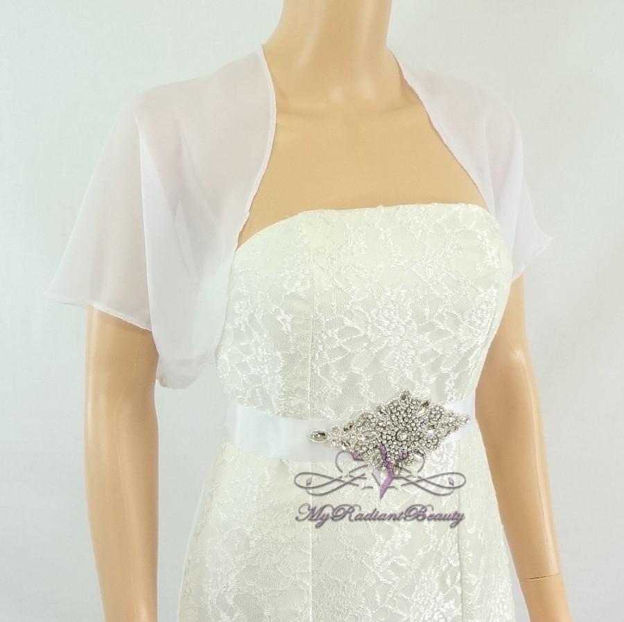 Wedding - White Chiffon Jacket, Bridal Bolero, Wedding Bolero Jacket, Chiffon Jacket, Bolero Shrug, Wedding Wrap, Scarf, Bridal Stole SCJ108-WHI
