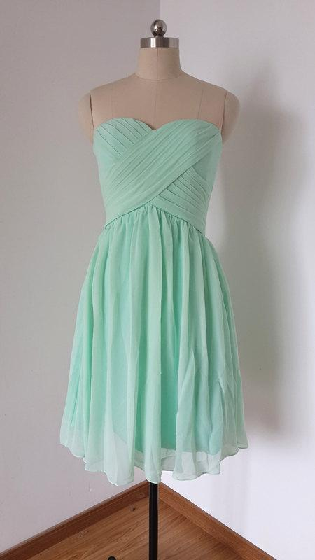 Wedding - 2015 Sweetheart Mint Chiffon Short Bridesmaid Dress