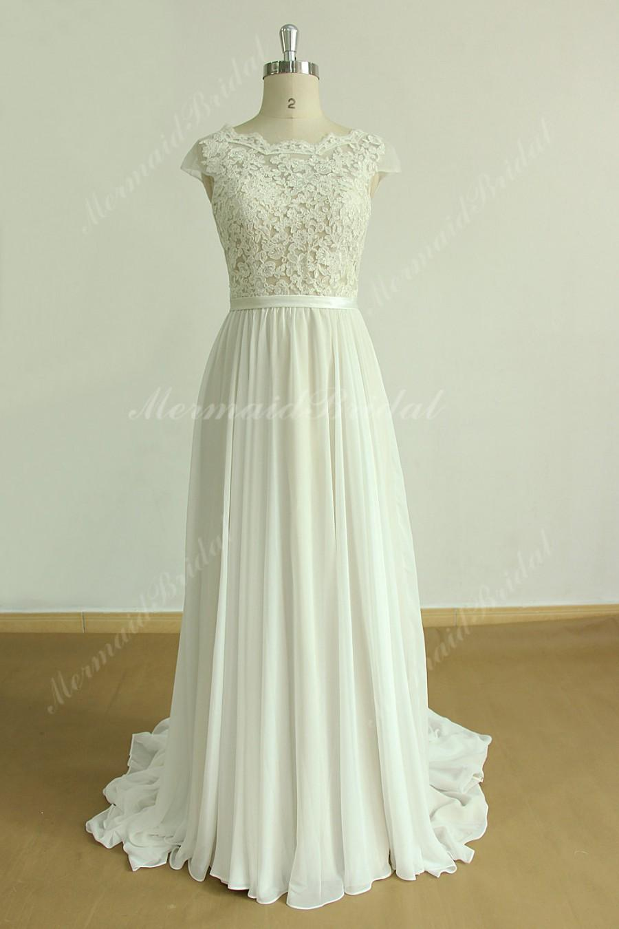 Wedding - A line chiffon lace wedding dress with scallop open back