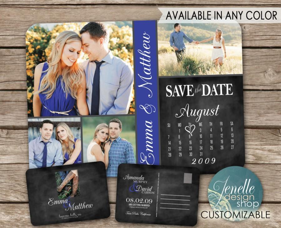Mariage - Chalkboard Save the Date Calendar Postcard - printable card with calendar, black