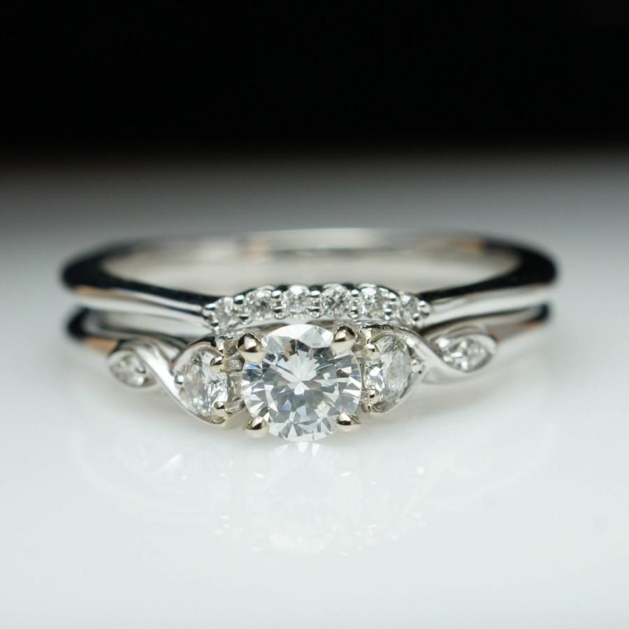 Beautiful Diamond Engagement Ring Wedding Band Set 14k White Gold Complete Bridal Vintage Style