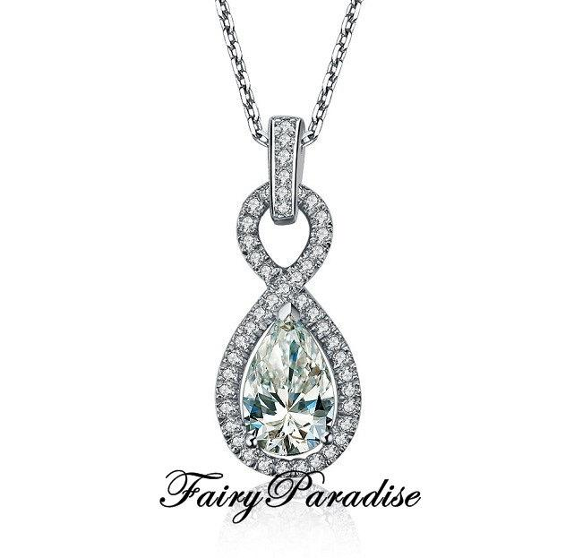 Свадьба - 2 Carat Pear Cut Man Made Diamond Infinity Pendant, Halo set, Bridal Necklace, Great Gift For Girlfriends, Moms and Wifes ( FairyParadise )