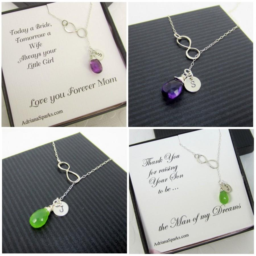 Mariage - Mother of the Bride and Groom Gift Set of 2  Stone and Initial necklace, Personalized Bridal Party Gift, gifts for mother in law