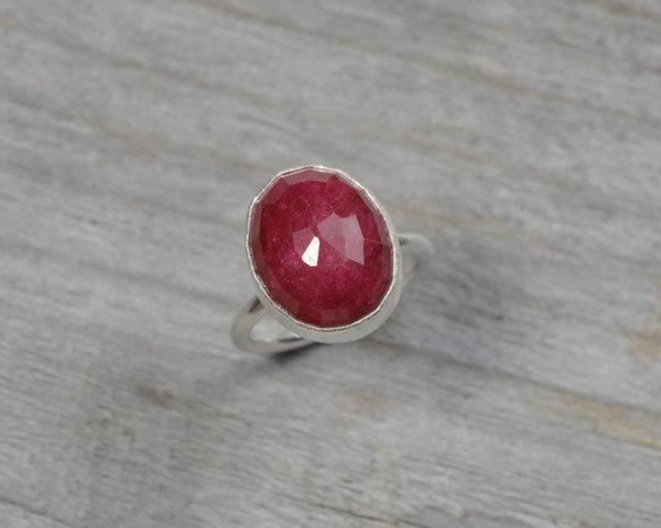 Mariage - Rose cut ruby ring, Burgundy ruby ring, 40th ruby anniversary ring, ruby engagement ring, 8.65 ct stackable ruby ring