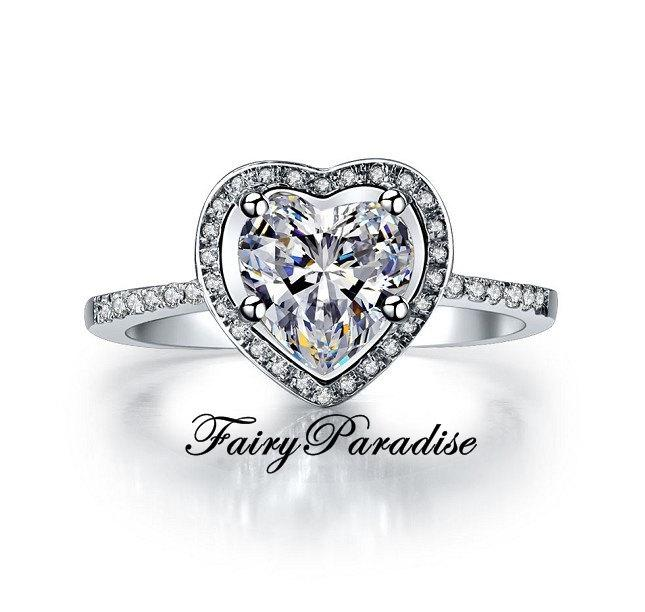 Mariage - 2 Ct Heart Cut man made Diamond Halo Setting Engagement Promise Anniversary Cocktail Ring with gift box - best for Valentines day