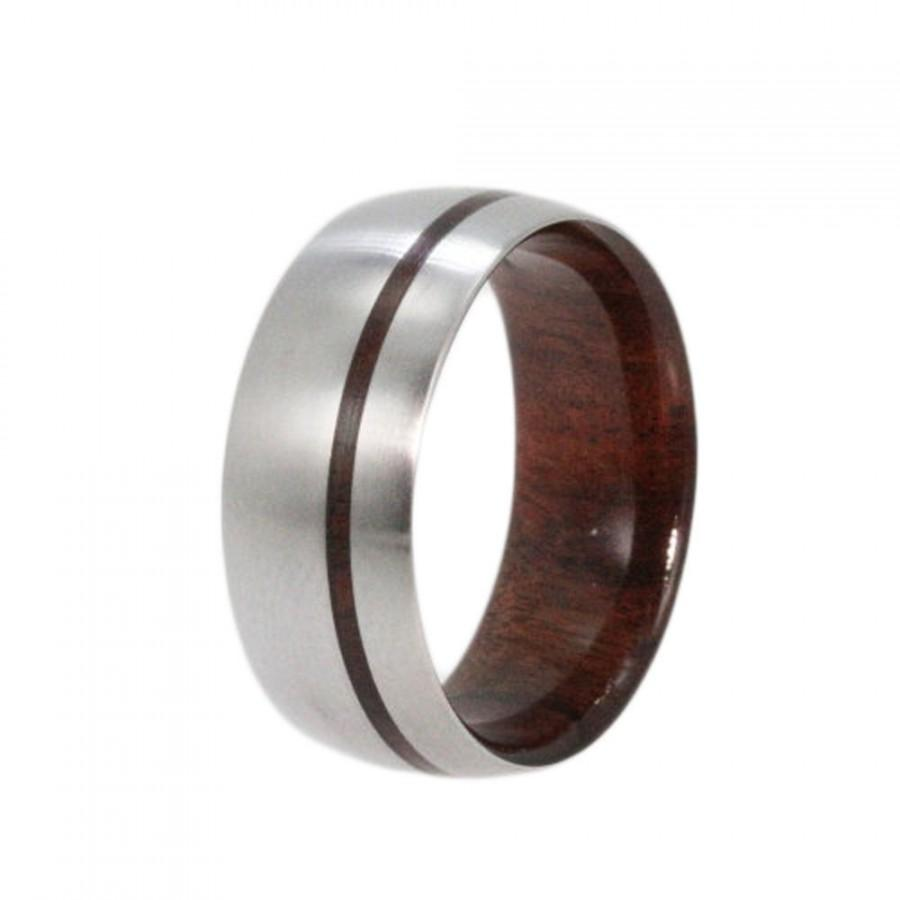 Mariage - Mens Titanium Wedding band with a Bolivian Rose Wood sleeve and Wood Pinstripe, Ring Armor Included