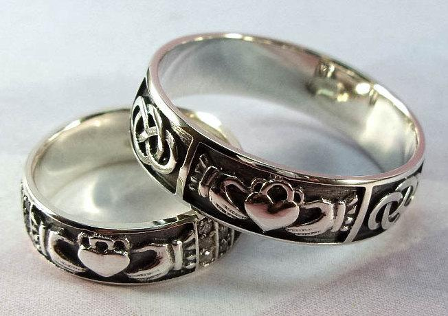 Wedding Band Set Silver Claddagh Ring Handmade Irish Rings Unique Promise Cubic Zirconia Stone Three Snails