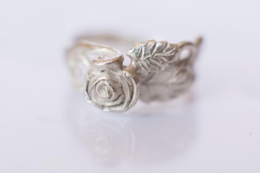 Mariage - Rose Flower Ring - Elvish Swirly Leaf Sterling Silver Engagement Ring