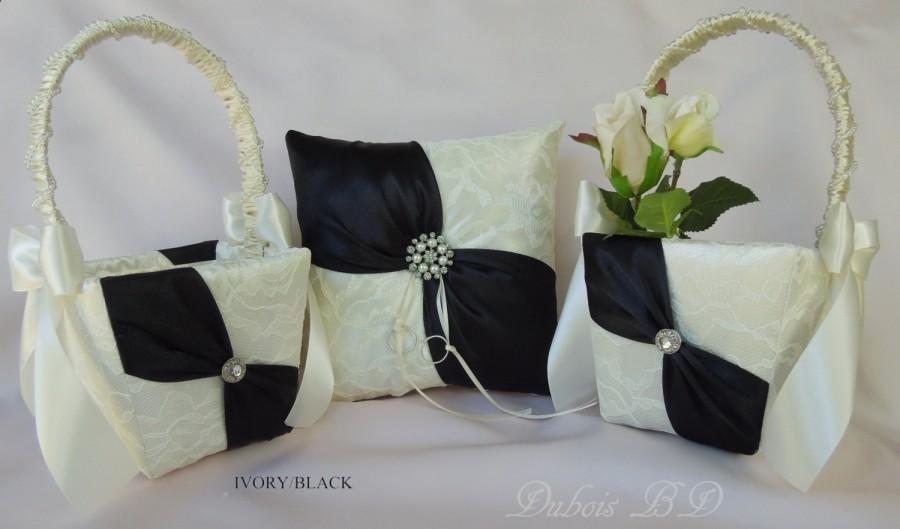 wedding ring bearer pillow and flower girl basket sets black sash ring pillow ivory and black. Black Bedroom Furniture Sets. Home Design Ideas