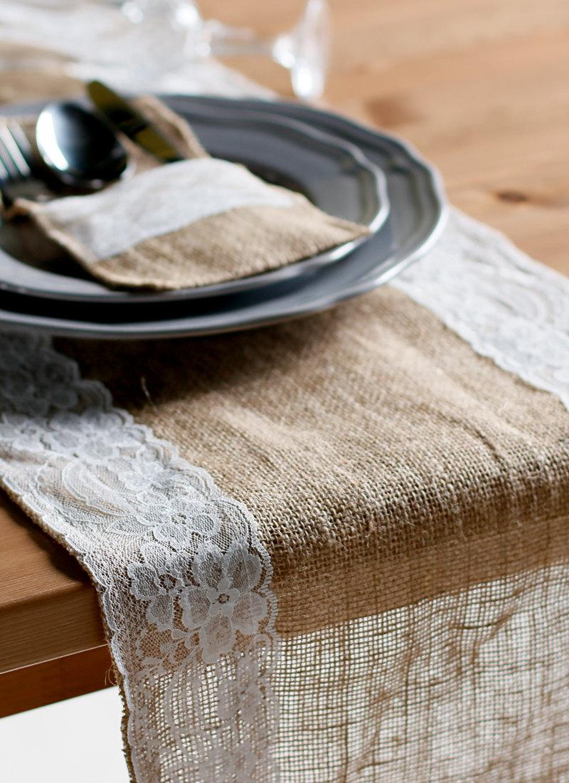 Burlap Table Runner With Lace Trim Custom Length Available Rustic Natural  Hessian Table Runner Wedding Party Event Table Decoration TRJ003CM