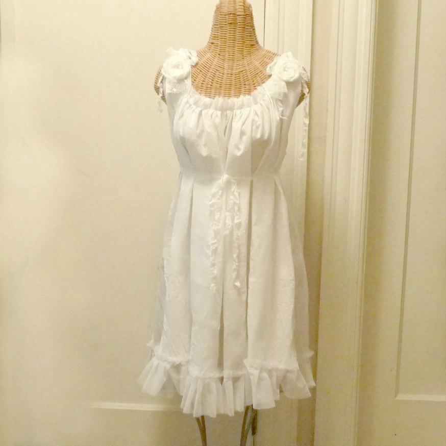 Wedding - Gypsy Rose Dress Hippie Bridal Midi Boho, Wedding Romantic White Custom Tea Length  by Savoyfaire Mid Calf Tattered Cotton
