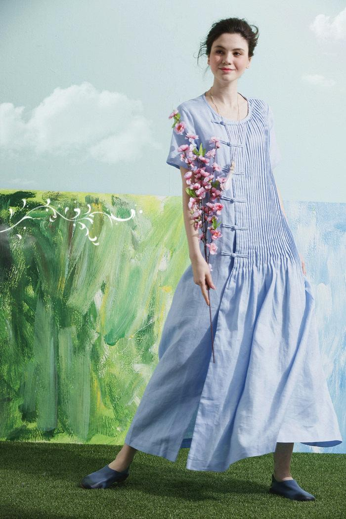 زفاف - 2016 Blue Bridesmaid dress, Linen Boho Wedding dress, Women Formal dress, Maxi Cocktail dress, Scoop neck Prom dress floor length