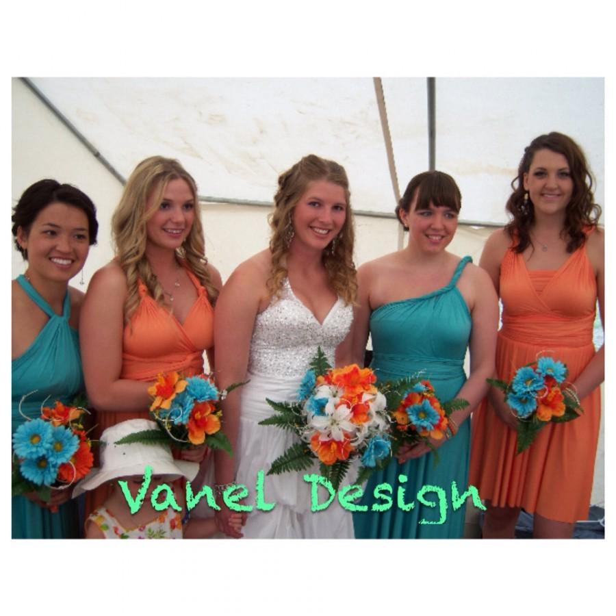 زفاف - Convertible infinity bridesmaid wrap dress maxi blue Turquoize dress Long Short wedding gown