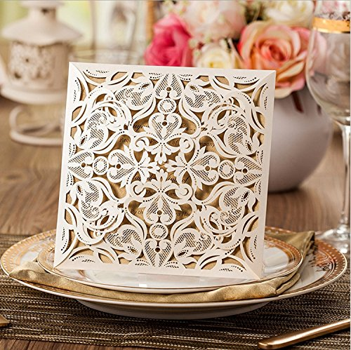 Boda - 100 Square Beige Laser-cut Lace Flower Pattern Wedding Invitations