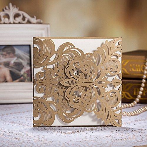 Свадьба - 100 Champagne Gold Laser-cut Lace Flower Pattern Wedding Invitations