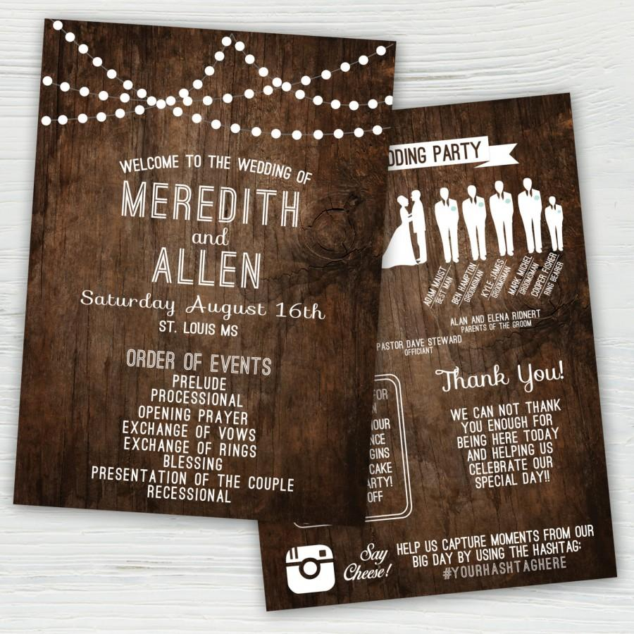 Rustic Wedding Program, Silhouette Wedding Program, Rustic Wedding Program,  String Light Wedding Program, Country Wedding Program, Wedding #2462629 -  Weddbook