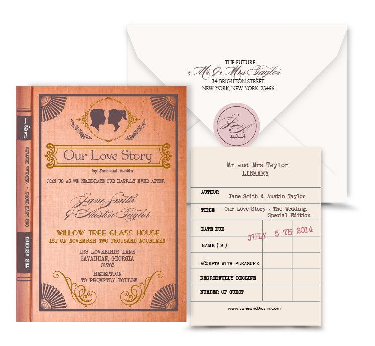 Vintage Book Wedding Invitation Digital Custom PDF.Love Story ...