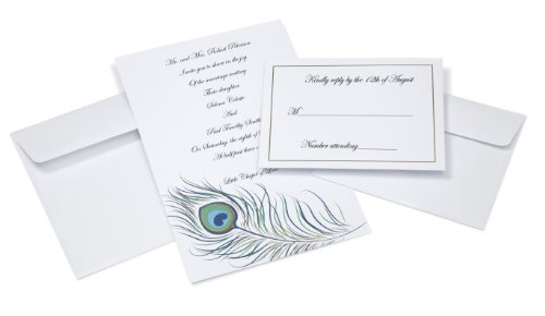زفاف - Peacock Feather Invites for Wedding, 50-Pack